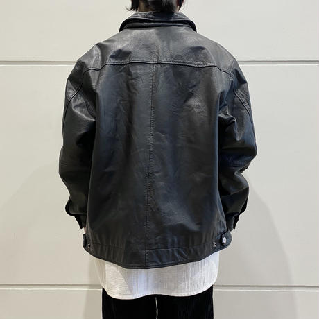 90s leather zip jacket