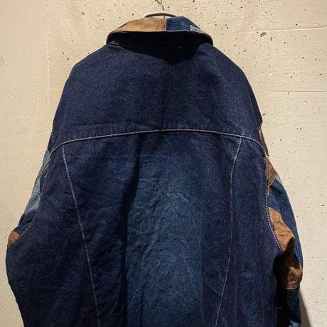 oversized patchworked denim jacket