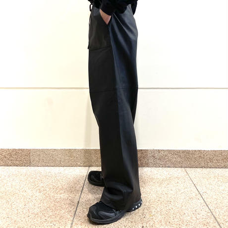 leather easy wide slacks pants