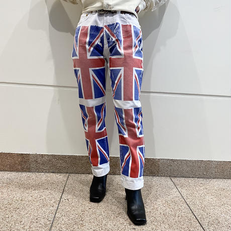 """""""D&G"""" unnion jack printed denim pants"""