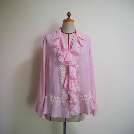 Opencollar frill blouse