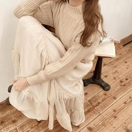 high neck caramel knit