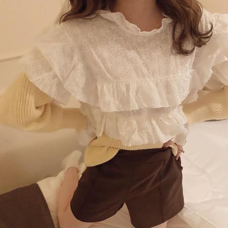 cotton lace mochi knit