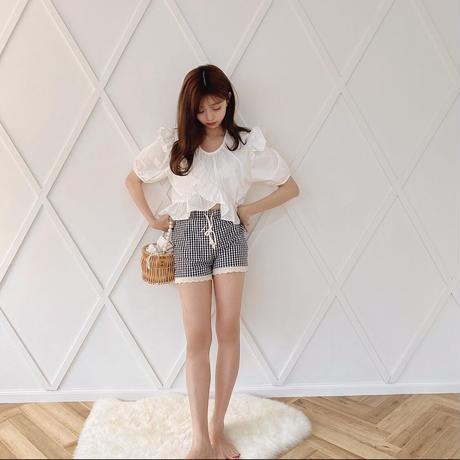 gingham lace shortpants