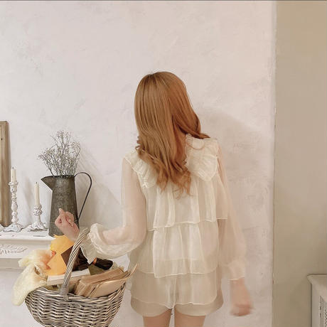 sheer tiered blouse