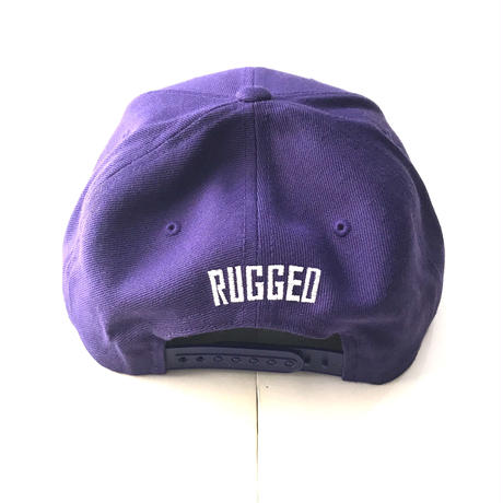 PUZZLE×RUGGED RUGZLE snap back パープル×ホワイト