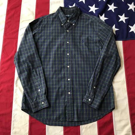 【USED】POLO RALPH LAUREN Plaid shirt グリーン×ネイビー L