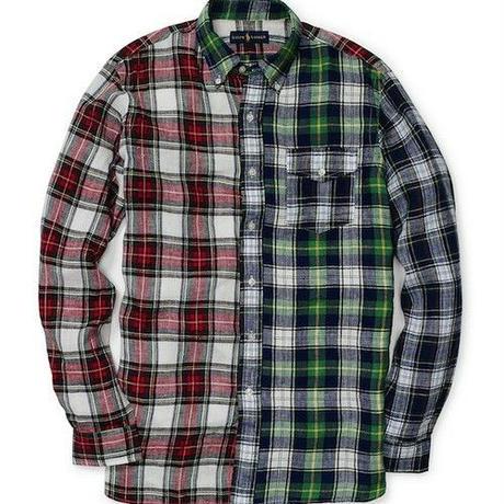【ラス1】POLO RALPH LAUREN PATCH WORK PLAD LINEN shirt マルチ L