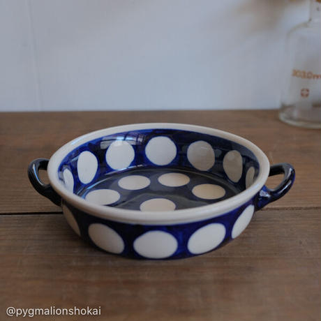 丸オーブン皿/白水玉(総柄)