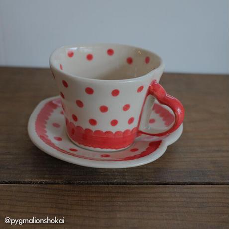 ハートカップ&ソーサー/赤みずたま