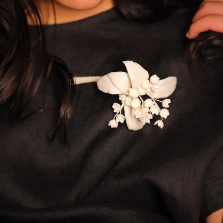 【ethical jewelr gift】 藤本裕美×qilin  ヘンプフラワーブローチ