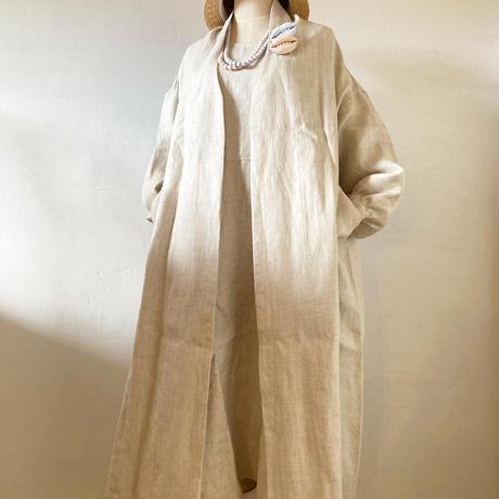 【初回消費税サービス】ヘリンボーン織・ヘンプリネンロングカーディガン