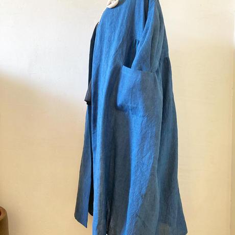 【消費税サービス】藍染ヘンプ100%ロングカーディガン