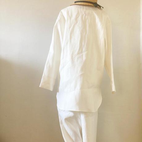 【消費税サービス&上下セット割】中厚ヘンプ前ボタンシャツ+パンツ パジャマセット