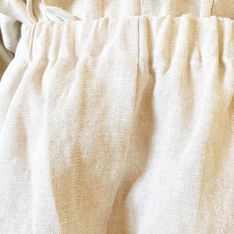 ヘリンボーン織ヘンプリネンクロップドパンツ