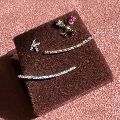 Initial lettered pierce melee lined diamond K14