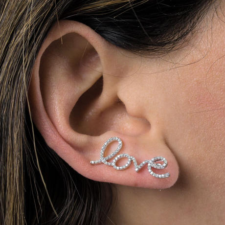'love myself' diamond earcuff K14PG