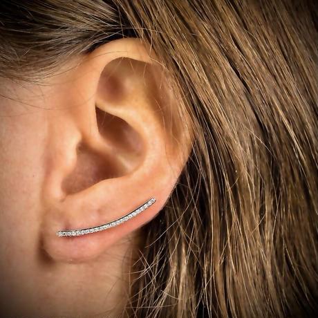 Tiny diamond sparkle line ear climber