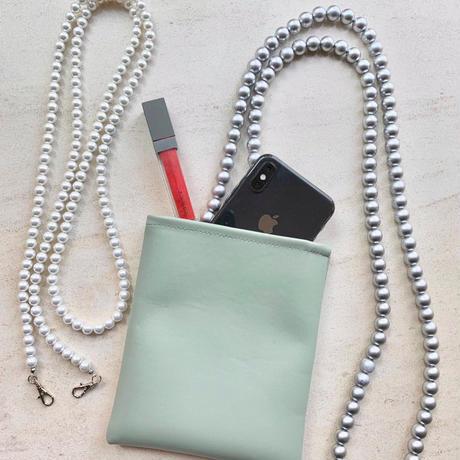 Mobile strappy pourch ミニバッグ付パール携帯ストラップ