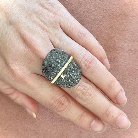 Cosmic Space Ring Aventurescence obsidian