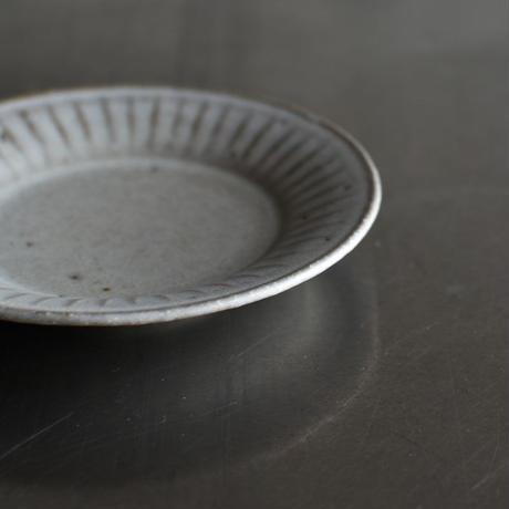 たくまポタリー 4寸皿 反り菊 ストーングレー