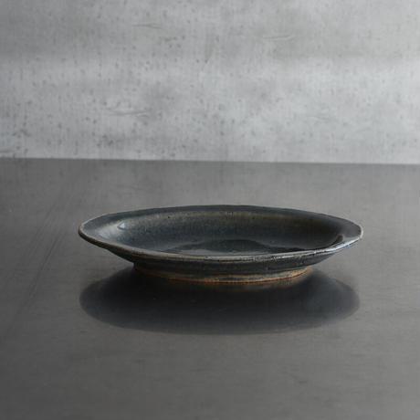 たくまポタリー オーバル皿 藍・飴釉
