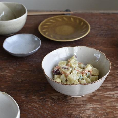 たくまポタリー 5寸鉢 木瓜 オリーブ・やわグレー