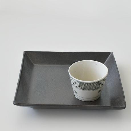 たくまポタリー スクエア皿深 中 こげ茶