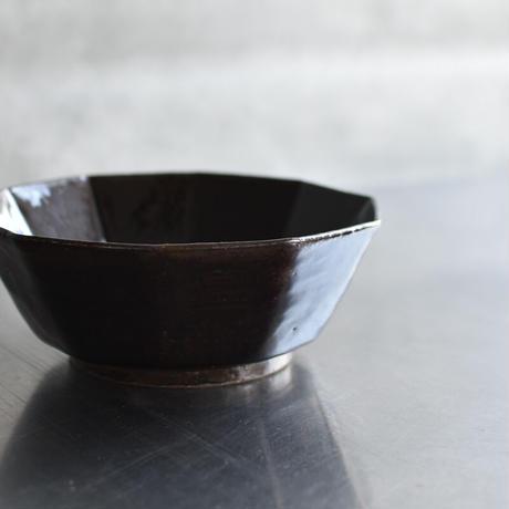 たくまポタリー 6寸鉢 10角 飴釉・やわグレー