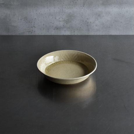 たくまポタリー 綿毛5.5寸浅鉢 はちみつ釉
