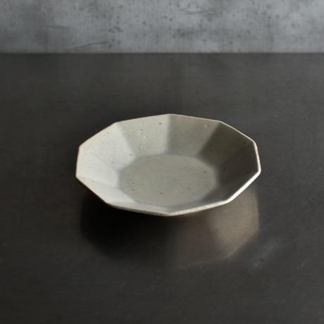 たくまポタリー 6寸皿 10角 やわグレー