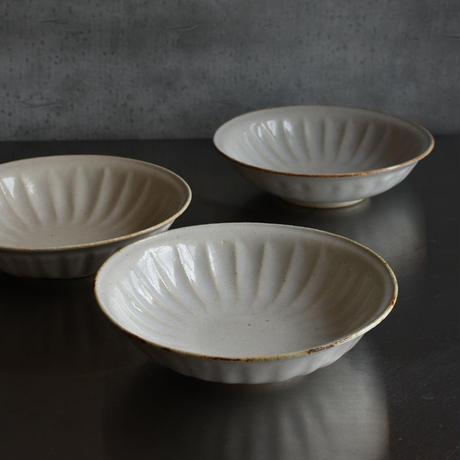 たくまポタリー 6寸皿 ヒマワリ つや白