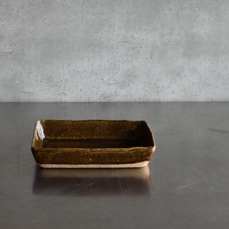 たくまポタリー   限定 長方深皿 キャラメル