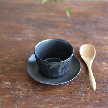 たくまポタリー 5寸皿 まる こげ茶