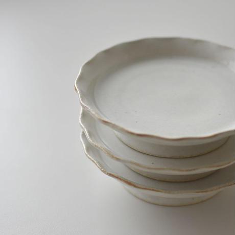 たくまポタリー 5寸皿 コンポート  つや白