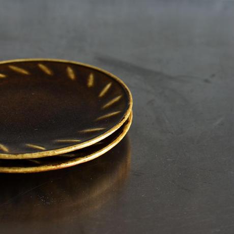たくまポタリー 4.5寸皿 風 キャラメル
