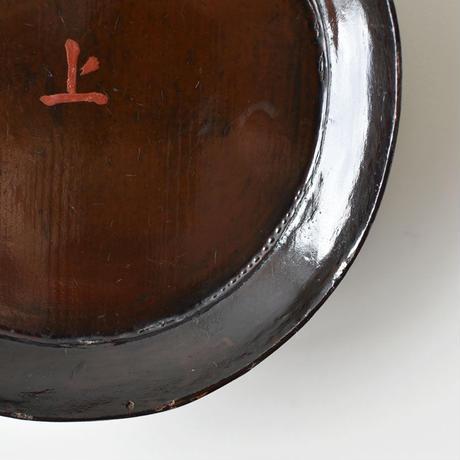 古道具部 漆塗の高台皿2 本朱
