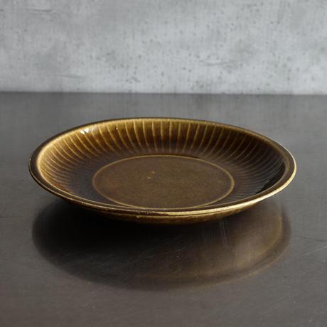 たくまポタリー 限定 8寸菊皿 キャラメル