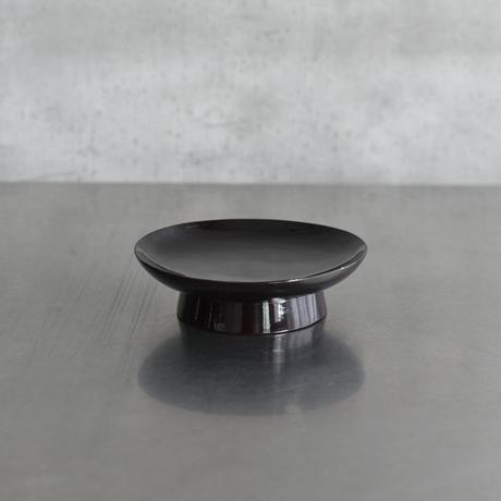古道具部 漆塗の高台皿1 黒