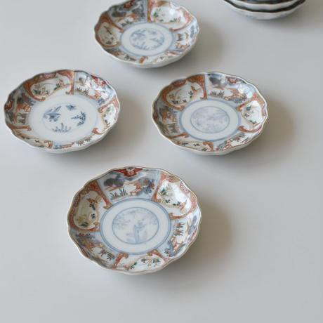 古道具部 色絵輪花4寸皿