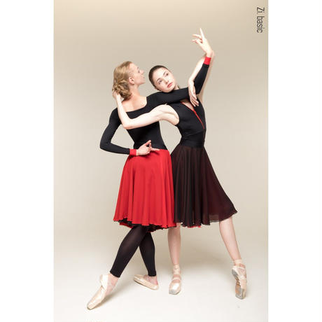 [Zidans] 481632 (black/red) two-sided rehearsal skirt with elasticated waist