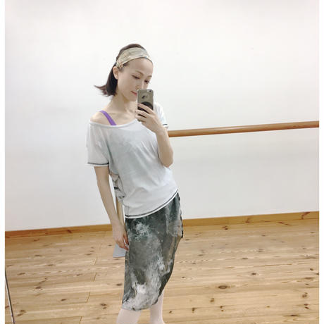 [Zidans] Chiffon skirt (L丈), stained with the print Delicate Dirt & Mud