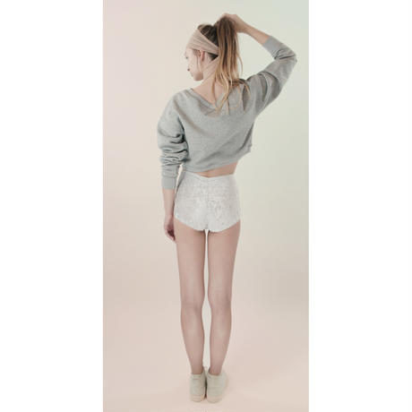 [Just A Corpse]  BALBOA – grey V back cropped sweater