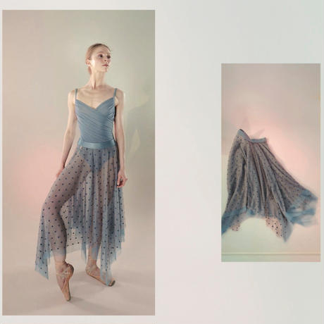 [Just A Corpse・予約商品] POLKA-TULLE – long square skirt (blush / blue / nude / black)
