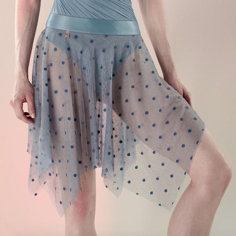 [Just A Corpse・予約商品] POLKA-TULLE – short square skirt (blush / blue / nude / black)