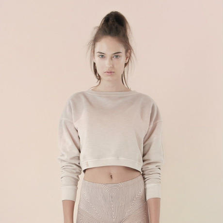 [Just A Corpse]  COTTON-CANDY – light pink tri-color V back cropped sweater