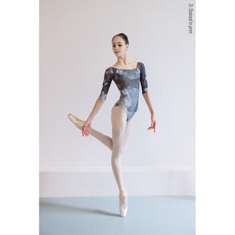 [Zi dancewear] 2 Sleeves leotard, stained with the print Mud
