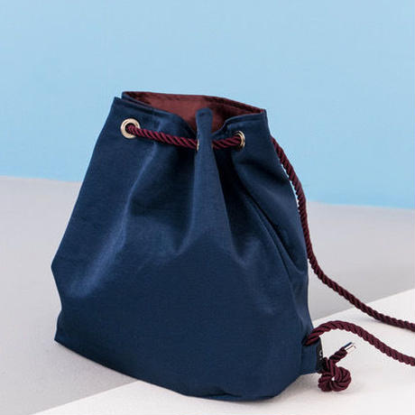 [S M K] REVERSIBLE SATIN BAG - BURGUNDY/NAVY