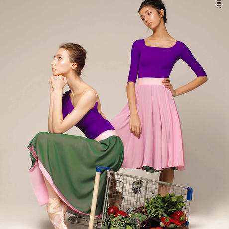 [Zi dancewear] Herbal + Pink cold two-sided rehearsal skirt with elasticated waist
