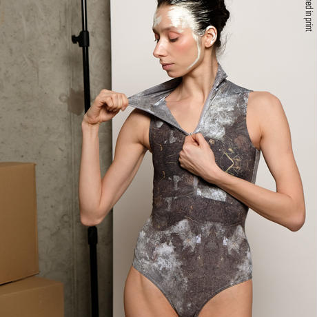 [Zidans] Zip leotard, stained with the print Mud